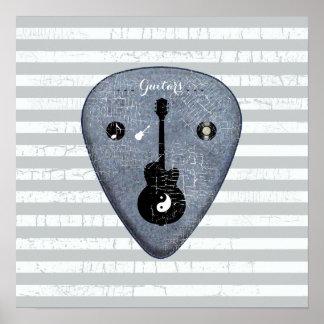 arte-diseño de la púa de guitarra póster
