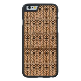 Arte diseño negro y blanco de Nouveau del pavo Funda De iPhone 6 Carved® De Cerezo