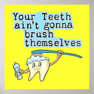 Arte divertido de la oficina del dentista póster