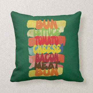 Arte divertido de la tipografía de la hamburguesa cojines