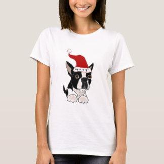 Arte divertido del navidad de Boston Terrier Playera