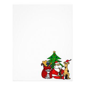 Arte divertido del navidad de los perros de Santa Membretes Personalizados