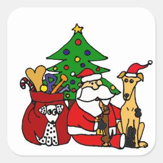 Arte divertido del navidad de los perros de Santa Pegatina Cuadrada