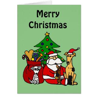 Arte divertido del navidad de los perros de Santa Tarjeta De Felicitación