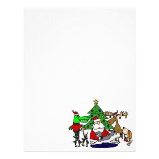 Arte divertido del navidad de Santa con los alces Plantilla De Membrete