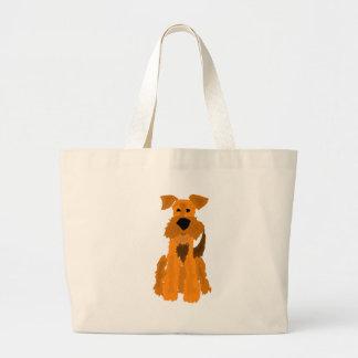 Arte divertido del perro de Airedale Terrier Bolsa Tela Grande