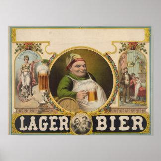 Arte divertido del poster del vintage de la cervez