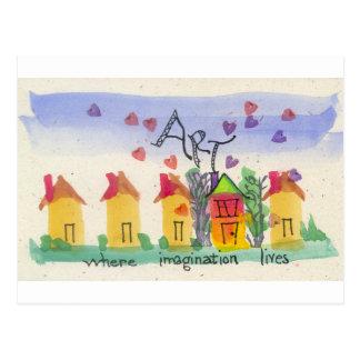 Arte donde vive la imaginación tarjetas postales