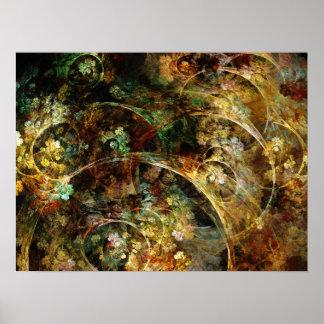 Arte dulce del fractal del extracto del otoño póster