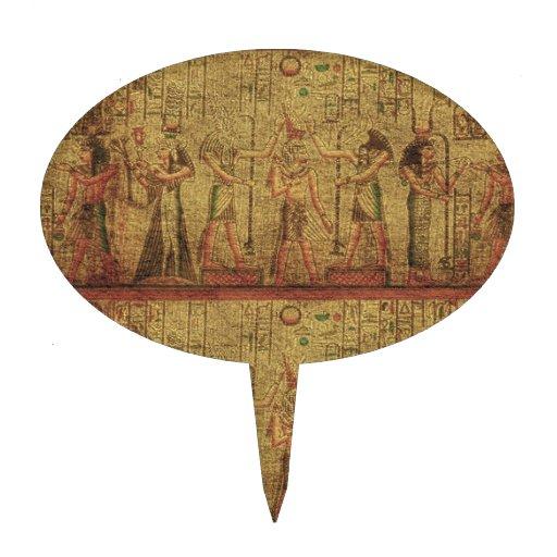 Arte egipcio antiguo de la pared del templo figura para tarta