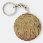 Arte egipcio antiguo de la pared del templo llavero personalizado