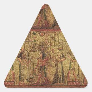 Arte egipcio antiguo de la pared del templo pegatina triangular