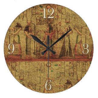 Arte egipcio antiguo de la pared del templo reloj redondo grande