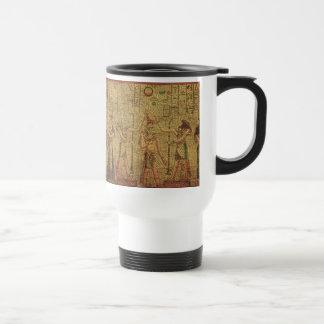Arte egipcio antiguo de la pared del templo tazas de café