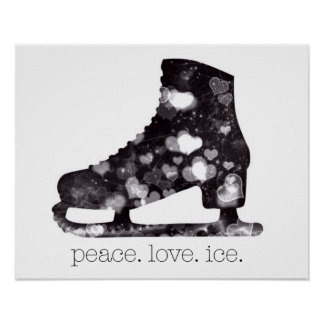Arte el hielo del amor de la paz del patinaje póster