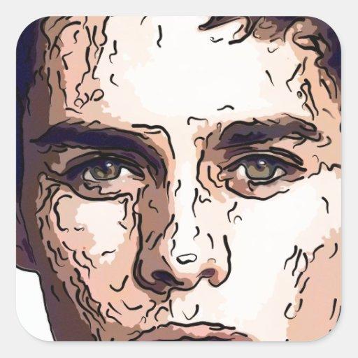 arte - el modelo masculino calcomanía cuadrada