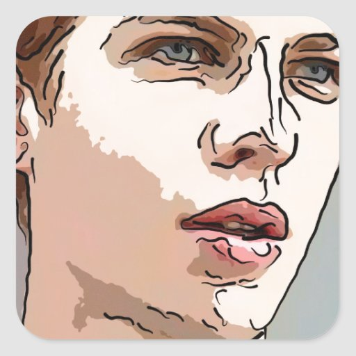 arte - el modelo masculino pegatinas cuadradas personalizadas