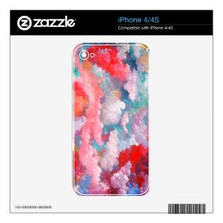 Arte elegante de la fantasía floral del verano de iPhone 4 skin