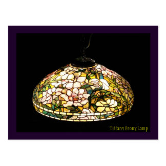 Arte elegante de la lámpara del Peony de Tiffany Tarjeta Postal