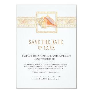 Arte elegante de los bodas de Shell de la concha Invitación 12,7 X 17,8 Cm