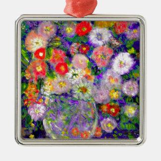 Arte elegante del diseñador de las flores adorno navideño cuadrado de metal