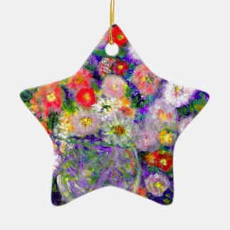 Arte elegante del diseñador de las flores adorno navideño de cerámica en forma de estrella