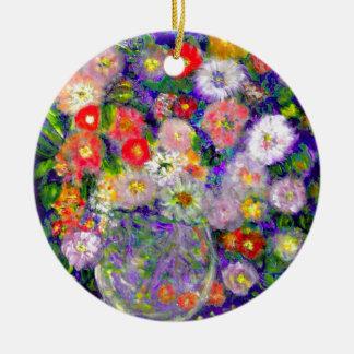 Arte elegante del diseñador de las flores adorno navideño redondo de cerámica