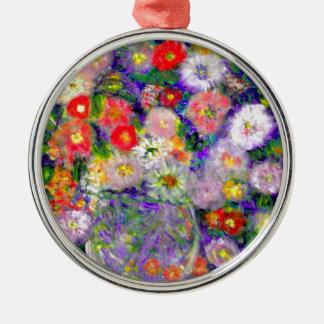 Arte elegante del diseñador de las flores adorno navideño redondo de metal