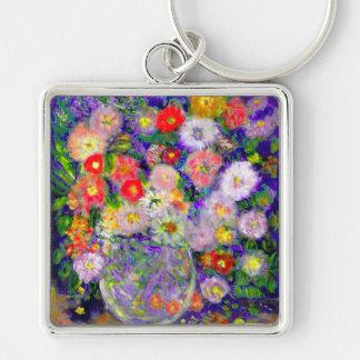 Arte elegante del diseñador de las flores llavero cuadrado plateado