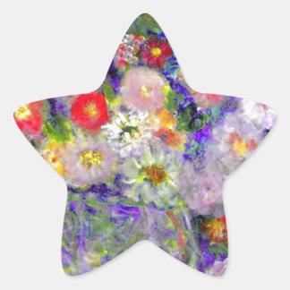 Arte elegante del diseñador de las flores pegatina en forma de estrella
