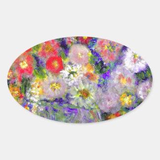 Arte elegante del diseñador de las flores pegatina ovalada