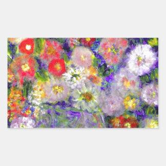 Arte elegante del diseñador de las flores pegatina rectangular