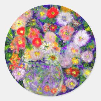 Arte elegante del diseñador de las flores pegatina redonda