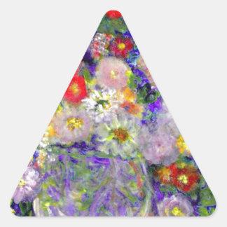 Arte elegante del diseñador de las flores pegatina triangular