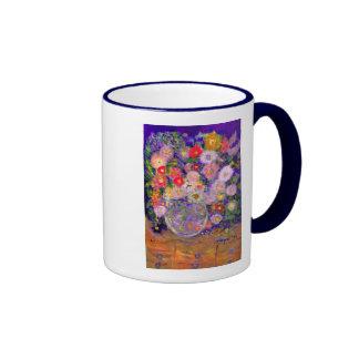 Arte elegante del diseñador de las flores taza de dos colores