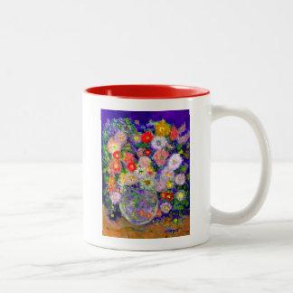 Arte elegante del diseñador de las flores taza de dos tonos