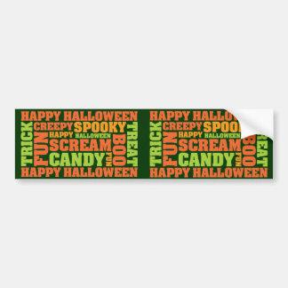 Arte elegante del texto del feliz Halloween Pegatina De Parachoque