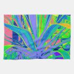 Arte en colores pastel de los cactus del agavo ame toallas de cocina