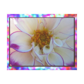 Arte en lienzo Lámina - La Dalia Blanca y Púrpura Canvas Print