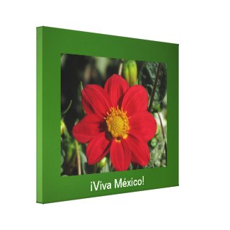 Arte en lienzo Lámina - ¡Viva México! - Dalia Roja Stretched Canvas Print