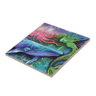 Arte encantado del océano azulejo cuadrado pequeño