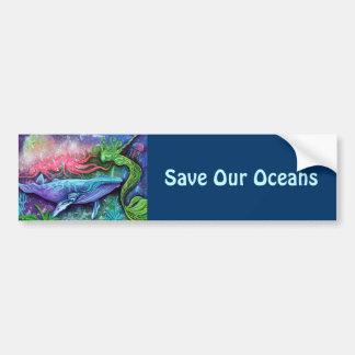 Arte encantado del océano etiqueta de parachoque