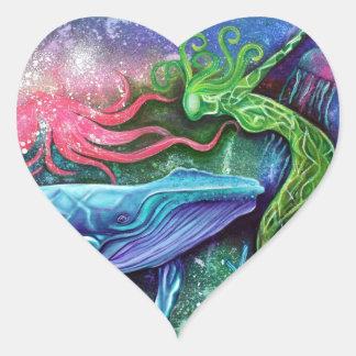 Arte encantado del océano pegatina en forma de corazón
