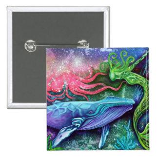Arte encantado del océano pin cuadrada 5 cm