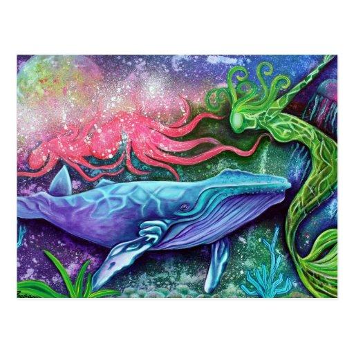 Arte encantado del océano postal