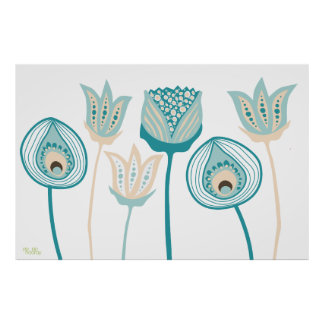 Arte enrrollado de la flor del vintage de la aguam posters