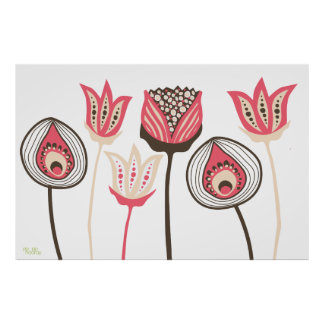Arte enrrollado del diseñador de la flor del vinta póster