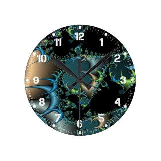Arte enrrollado del fractal del negro del trullo reloj redondo mediano
