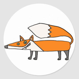 Arte enrrollado divertido del Fox rojo Pegatina Redonda