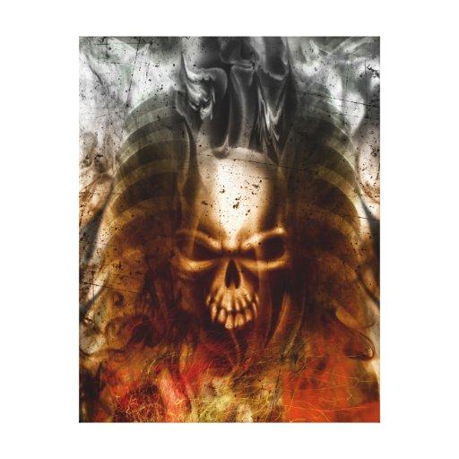 Arte envuelto cráneo de la lona del KRW que arde Lienzo Envuelto Para Galerías